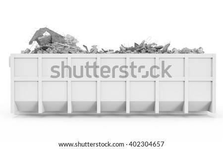 White rubble container left profile view isolated on white background. 3D Rendering, 3D Illustration. - stock photo