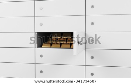 White safe deposit boxes in a bank. There are gold bullions inside of a one box. A concept of storing of important documents or valuables in a safe and secure environment. 3D rendering. - stock photo