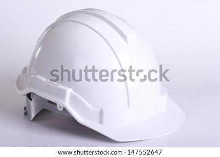 White safety hat with white background - stock photo