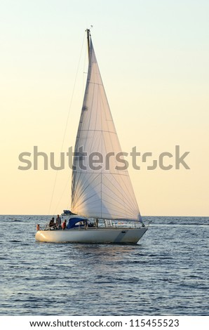 white sail yachts sailing. Riga, Latvia - stock photo