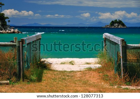 White Sand and Turquoise Sea, Abel Tasman National Park, South Island, New Zealand - stock photo