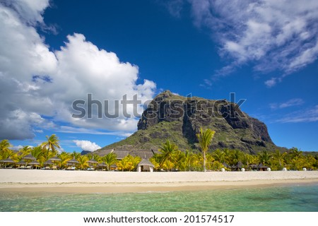 White sand beach near Le Morne Brabant mountain, Mauritius - stock photo