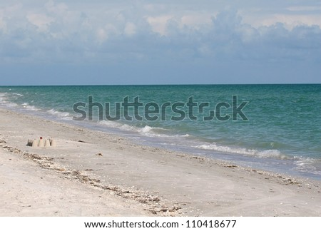 White Sand Beach on the Gulf Coast of Sanibel Island Florida - stock photo