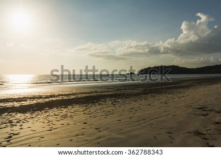 White Sand Beach Sunset - stock photo