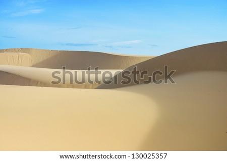 White sand dune in Mui Ne, Vietnam - stock photo