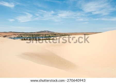 White sand dunes. of Mui Ne, Vietnam - stock photo