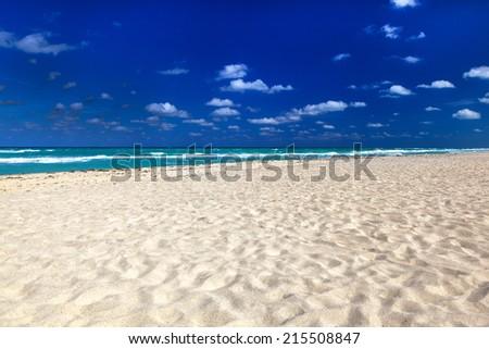White sand on a beautiful beach - stock photo