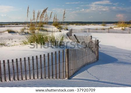 White Sand, Sea Oats and Fence on Florida Beach - stock photo