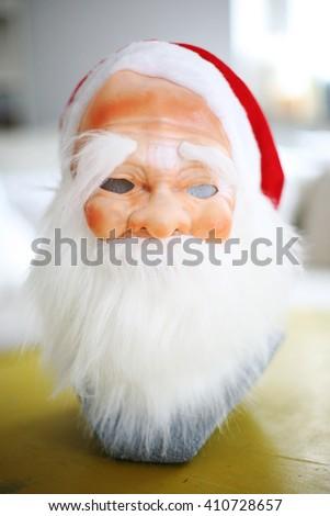 White santa's beard and mask. - stock photo