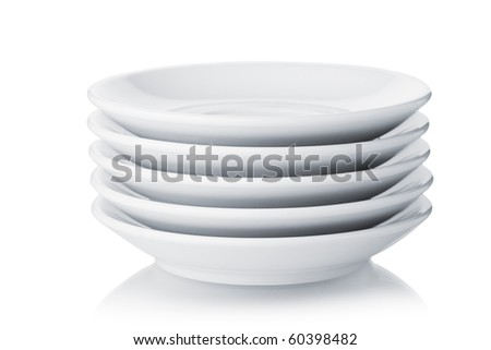 White saucers. Isolated on white background - stock photo