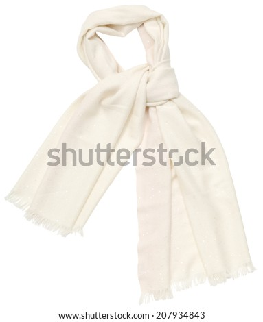 White scarf on white background, isolated - stock photo