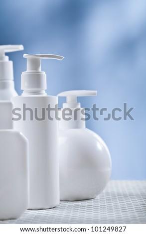 white sckincare bottles - stock photo