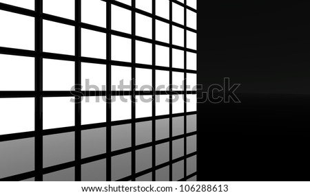 White screen video wall background - stock photo
