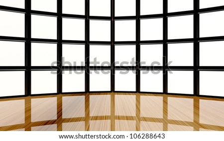 White screen wall of many cubes on wooden floor - stock photo