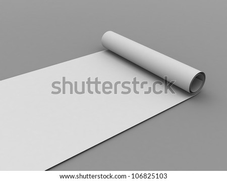 White scroll paper. 3d render - stock photo