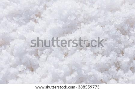 White sea salt crystals in Phetchaburi. - stock photo