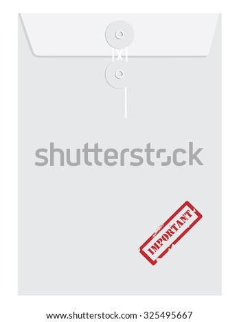 White sealed postal envelope template with red rubber stamp important raster isolated on white  - stock photo
