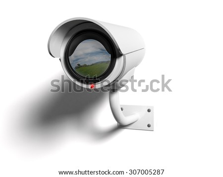 White Security camera with red led and reflected in the lens - stock photo