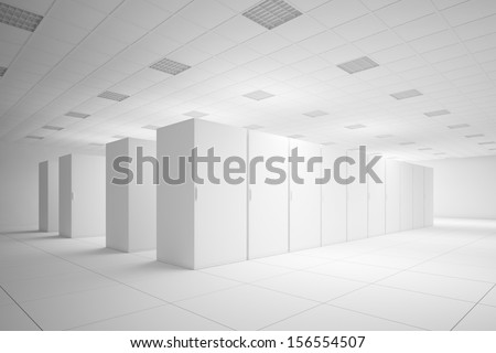 White server room with no texture for layouts - stock photo