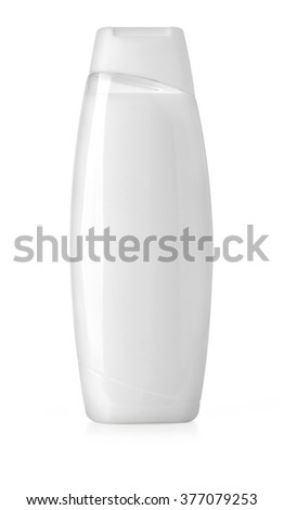 white shampoo bottle isolated on white with clipping path - stock photo