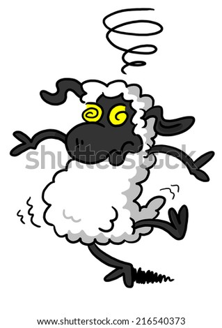White Sheep Feeling Dizzy - stock photo