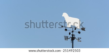 white sheep rooster weather vane - stock photo