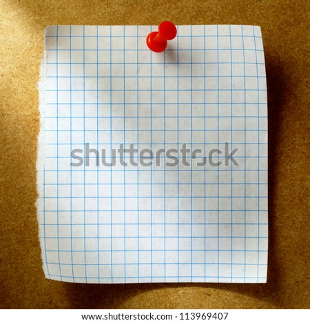 white sheet of paper for notes and pushpin - stock photo