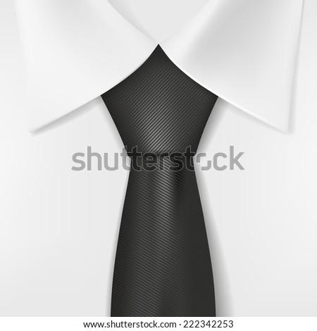 white shirt and black tie - stock photo