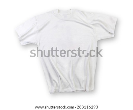White shirt isolated on white with shadow - stock photo
