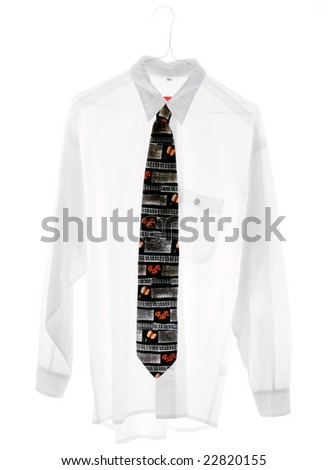 white shirt with necktie (cross-processed film with a bit grain, sRGB) - stock photo