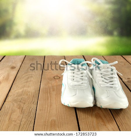 white shoes and table  - stock photo