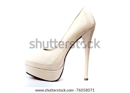 White shoes of the bride - stock photo