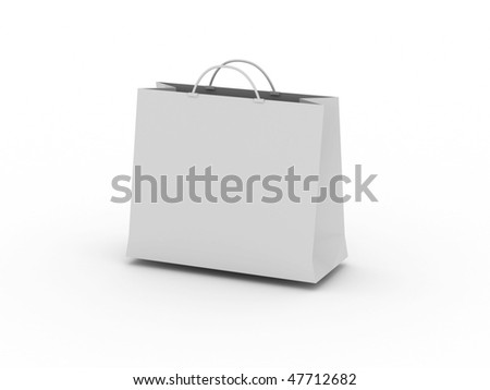White shopping bag isolated on white background. High quality 3d render. - stock photo