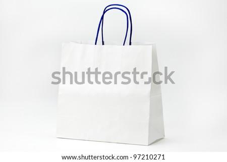 White shopping bag on white. - stock photo
