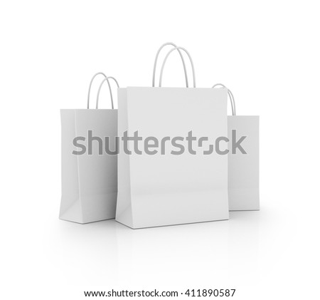 White Shopping Bags Isolated on White Background. 3D rendering - stock photo