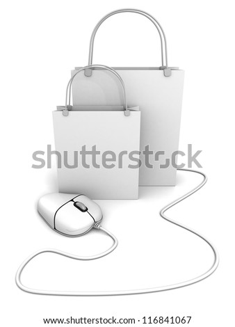 white shopping bags with computer mouse - stock photo