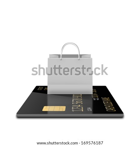 white shopping paper bag on credit card - stock photo