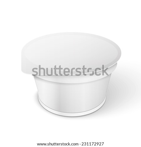 White Short And Stout Tub Food Plastic Container For Dessert, Yogurt, Ice Cream, Sour Sream Or Snack. - stock photo