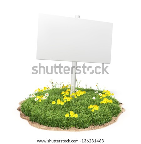 White sign on the grass on the white background - stock photo