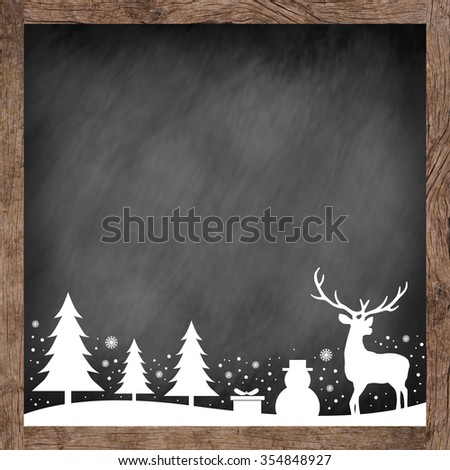 white silhouette hand draw symbolic xmas on blackboard dark tone background for banner,design,decorate:merry Christmas festival and new year wallpaper concept.reindeer,tree,snowflakes,gift,snowman - stock photo