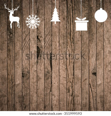 white silhouette hand draw symbolic xmas on grunge wood striped panel background for banner,design,decorate:merry Christmas festival and new year wallpaper concept.reindeer,tree,snowflakes,gift,ball - stock photo