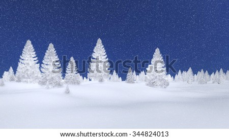 White silhouettes of frosty fir trees against dark blue night sky with snowfall. Decorative 3D illustration was done from my own 3D rendering file. - stock photo