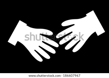 White silhouettes of hands outstretched to greet on a black background - stock photo