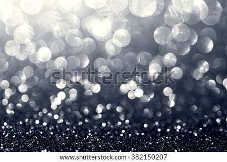 white silver glitter bokeh texture abstract background - stock photo