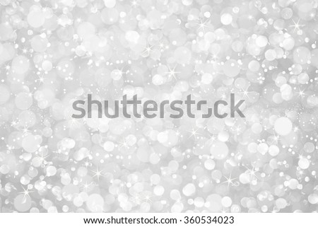 white silver glitter bokeh with stars abstract background - stock photo