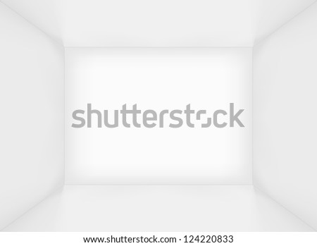 White simple empty rectangle room interior or box. Raster version - stock photo