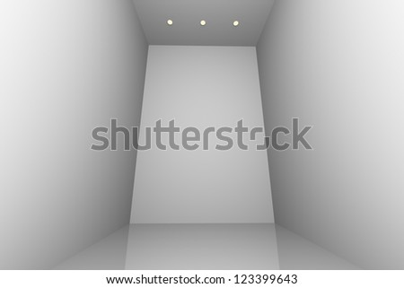 White simple empty room interior with three downlight - stock photo