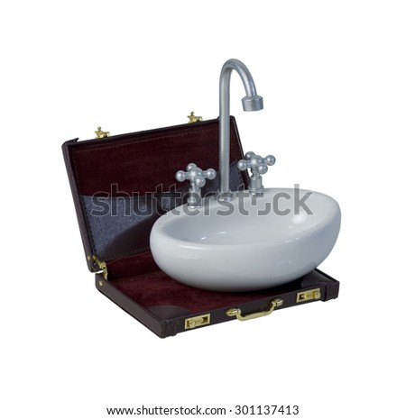 White sink with faucet and handles in a briefcase - path included - stock photo