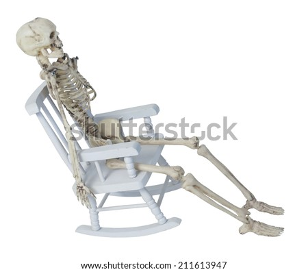 White skeleton in a rocking chair - path included - stock photo