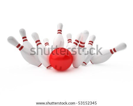 white skittles and red ball on white background, bowling - stock photo